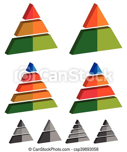 Pyramid, cone, triangle charts, graphs. 3-2-5-4 level, multilevel infographics, presentation elements - csp39893058