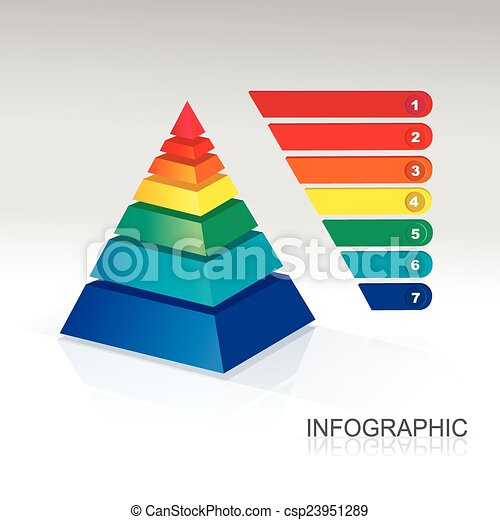 Pyramid infographic  colorful  Vector. - csp23951289