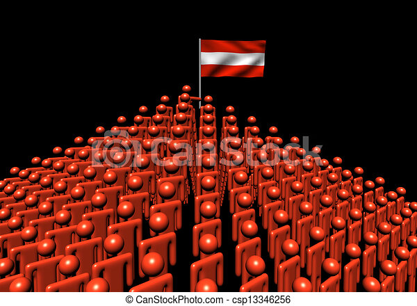 Pyramid of abstract people with Austria flag illustration - csp13346256
