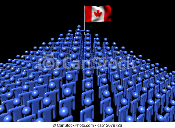 Pyramid of abstract people with Canadian flag illustration - csp12679726