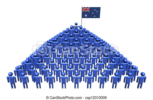 Pyramid of abstract people with Australian flag illustration - csp12310009