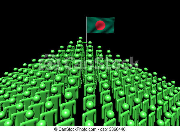 Pyramid of abstract people with Bangladesh flag illustration - csp13360440