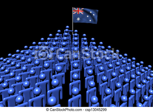 Pyramid of abstract people with Australian flag illustration - csp13045299