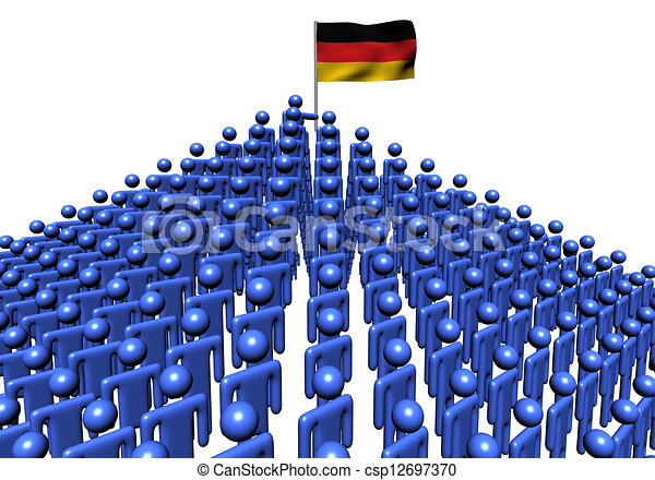 Pyramid of abstract people with German flag illustration - csp12697370