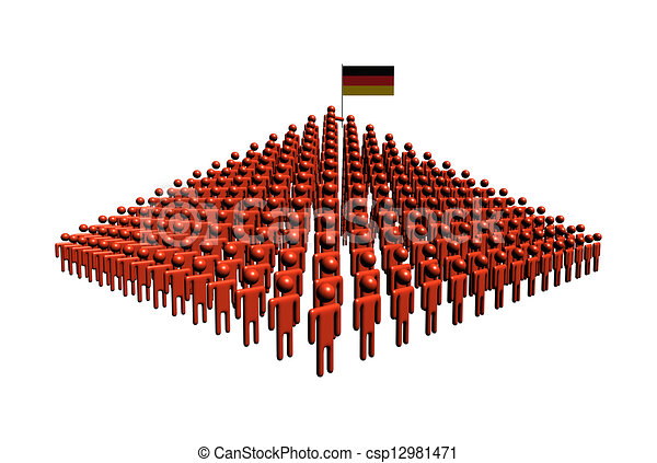 Pyramid of abstract people with German flag illustration - csp12981471