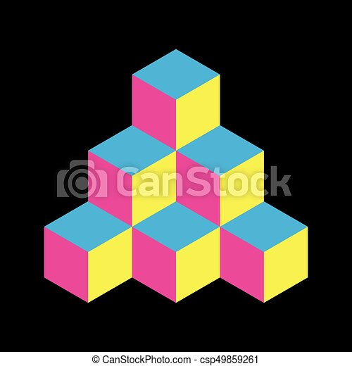 Pyramid of cubes in CMYK colors. 3D vector illustration isolated on white background - csp49859261