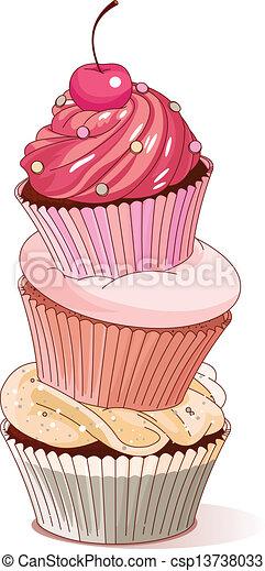 Pyramid of cupcakes  - csp13738033