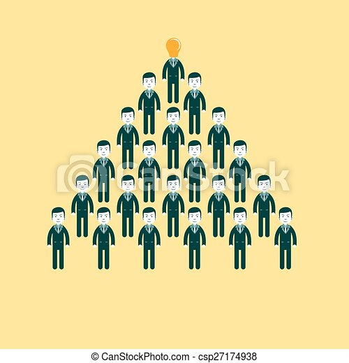 pyramid of people working in the commando, vector illustration - csp27174938