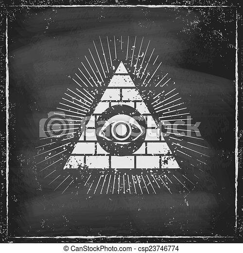 Pyramid with eye - csp23746774
