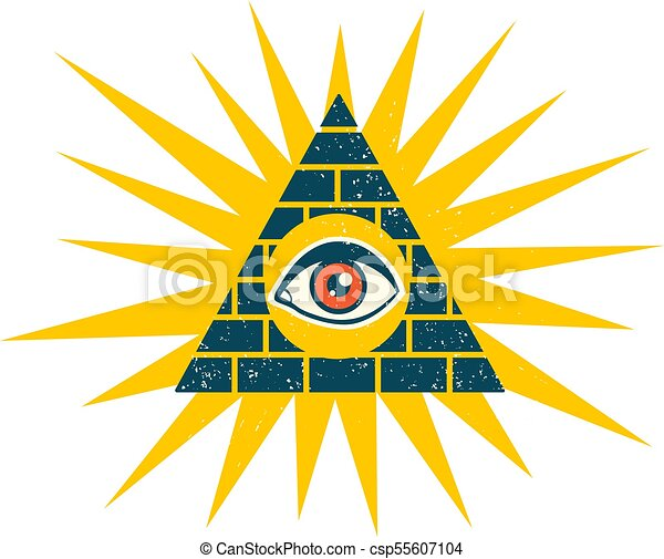 Vector Vintage Illustration Of A Pyramid With Eye Pyramid With Eye