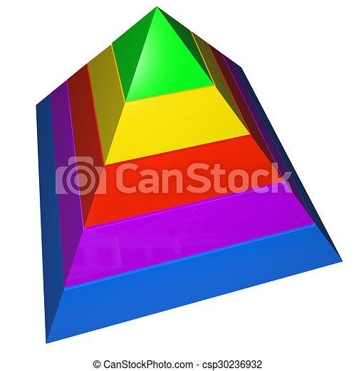 pyramide, raum, prinzipien, farben, niveaus, fünf, leer, schritte, kopie - csp30236932