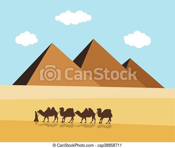 pyramides, bedouin, エジプト人, ベクトル, ラクダ, 砂漠 - csp38858711