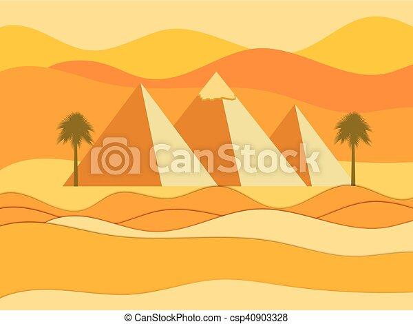 pyramids., ベクトル, エジプト人 - csp40903328
