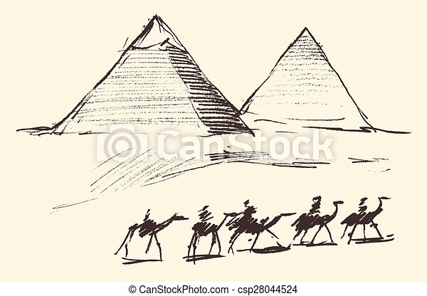 Pyramids Cairo Egypt with Caravan Camels Vintage - csp28044524