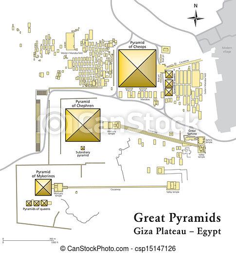 Pyramids Of Giza Map Illustration Of The Giza Necropolis - Giza map
