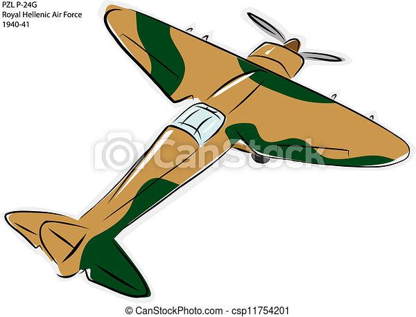 Pzl P 24g Ww2 Combat Plane Sketch Of Pzl P 24g World War Ii Combat