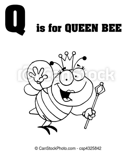Q Is For Queen Bee Text Outlined Queen Bee With Q Is For Queen Bee