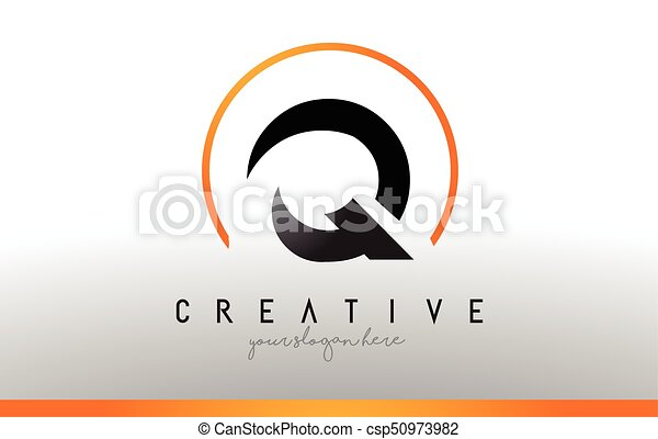 Q Letter Logo Design With Black Orange Color Cool Modern Icon Template