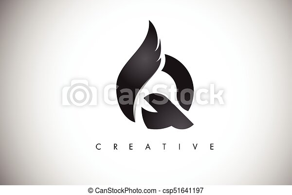 Q Line Art : Q letter wings logo design with black bird fly wing icon eps