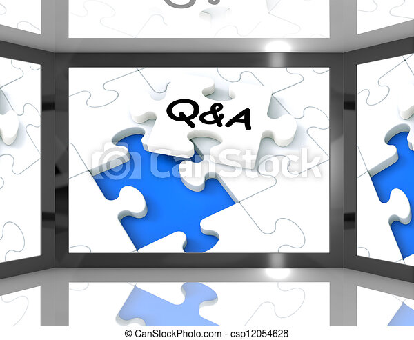 Q&A On Screen Showing Television's Guide - csp12054628
