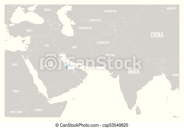 Qatar Blue Marked In Political Map Of South Asia And Middle East