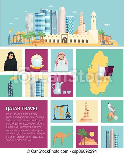 Qatar Culture Flat Icon Set Qatar Culture Flat Icon Set