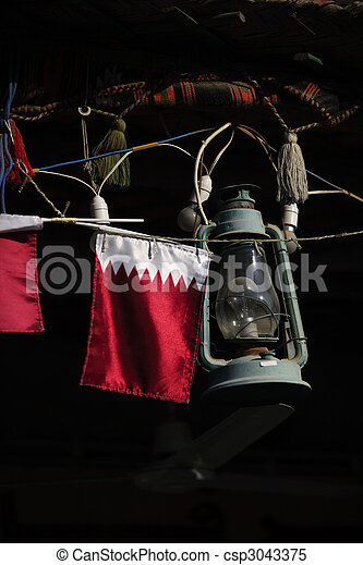 Qatar flag and lamp - csp3043375
