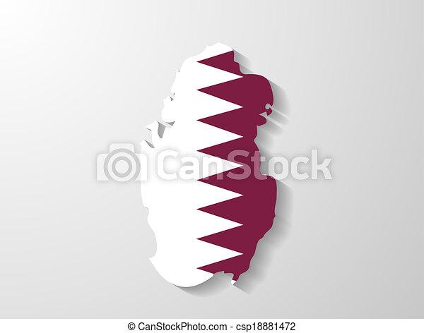 Qatar flag map with shadow effect - csp18881472