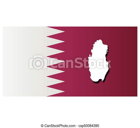 qatar map with flag - csp50084395
