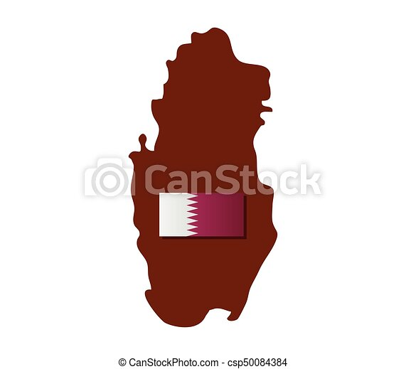 qatar map with flag - csp50084384