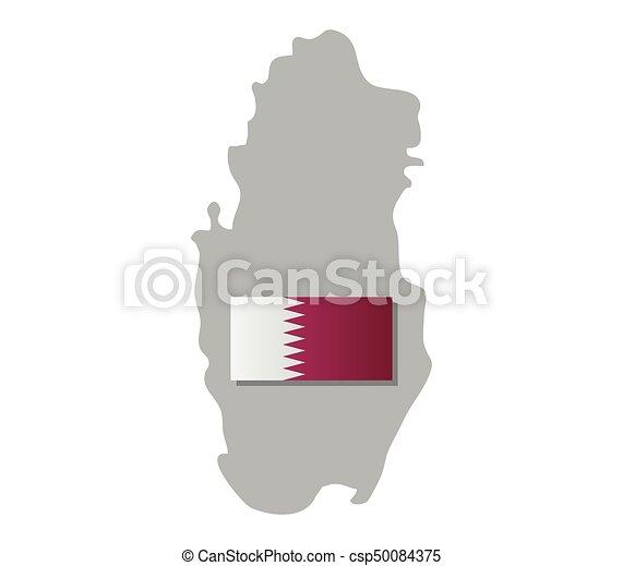 qatar map with flag - csp50084375