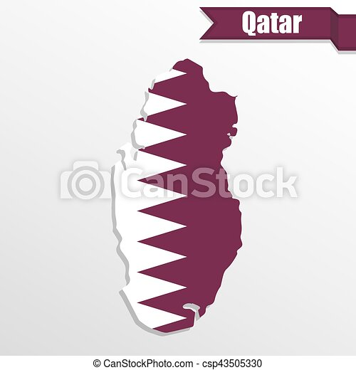 Qatar map with flag inside and ribbon - csp43505330