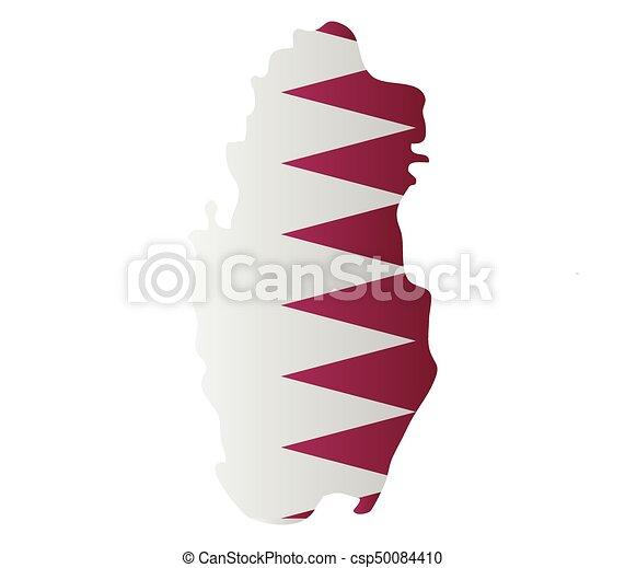 qatar map with flag - csp50084410