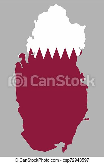 Qatar, map with flag Vector illustration - csp72943597
