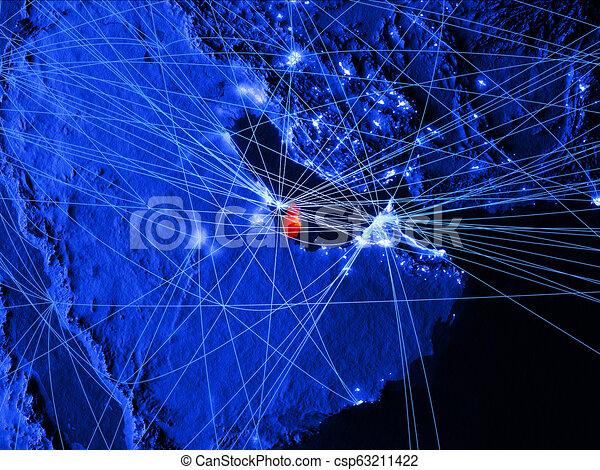 Qatar on blue blue digital map - csp63211422