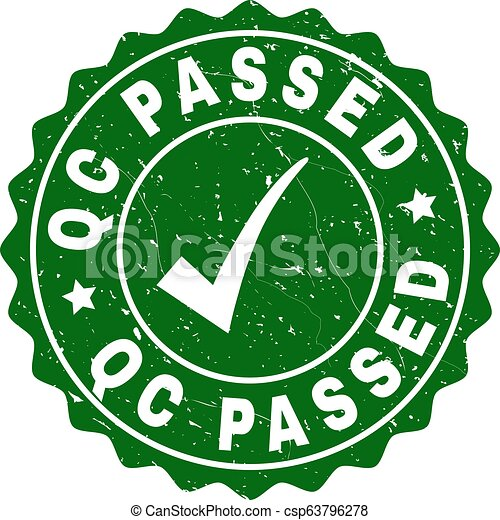Qc Passed Scratched Stamp with Tick - csp63796278