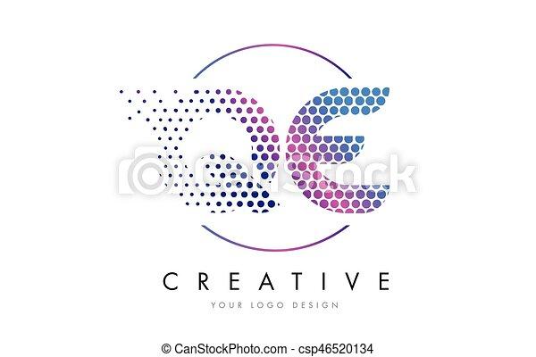 Qe Q E Pink Magenta Dotted Bubble Letter Logo Design Vector
