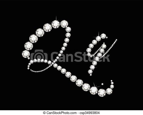 Qq Diamond Script Jeweled Font - csp34993804