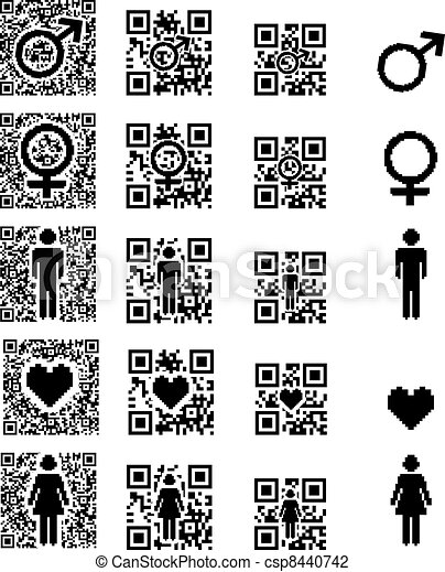 Qr Code Icon Man Woman And Heart Qr Code Icon Man Woman And