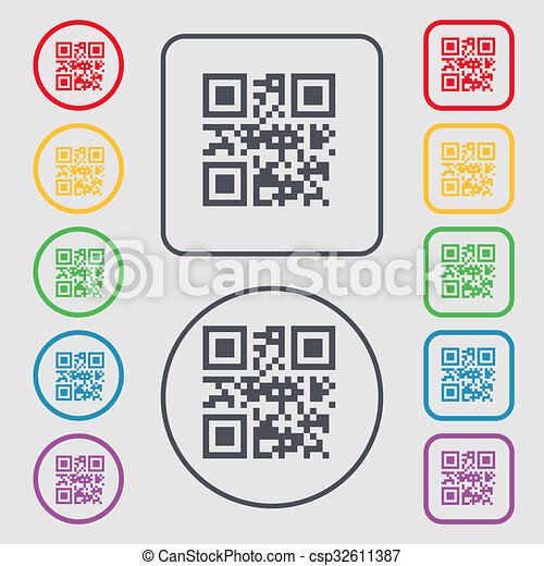 Qr Code Icon Sign Symbol On The Round And Square Buttons With Frame