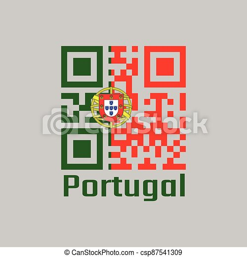 QR code set the color of Portugal flag, 2:3 vertically striped bicolor of green and red, with coat of arms of Portugal centred over the color boundary - csp87541309