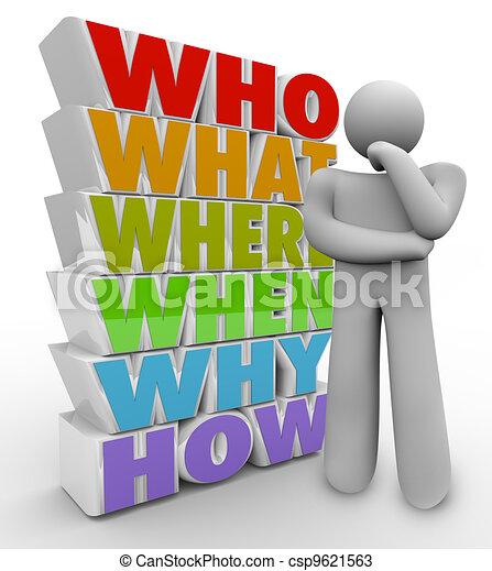 La persona que piensa hace preguntas quién qué dónde cuándo cómo - csp9621563