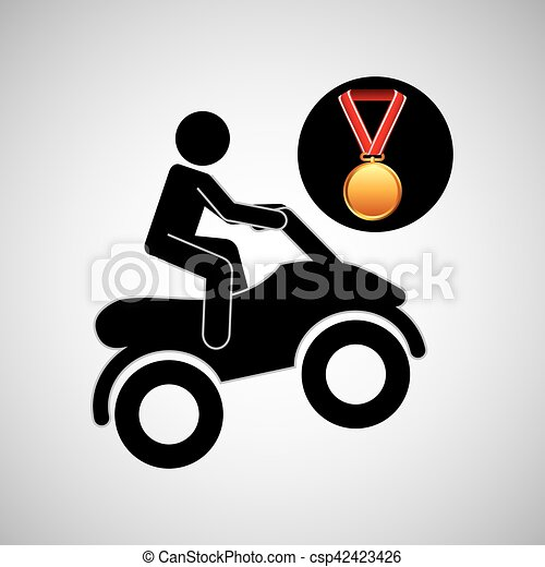 quad bike medal sport extreme graphic - csp42423426