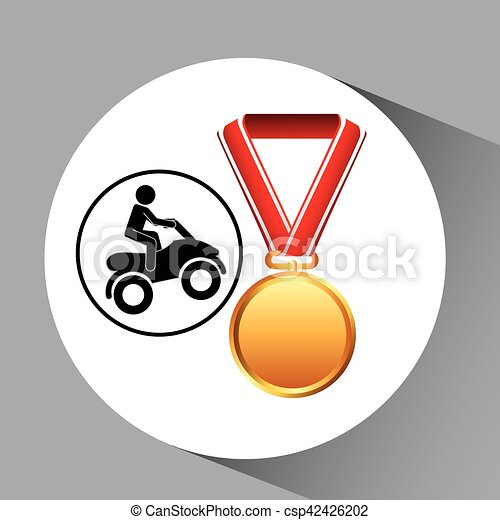 quad bike medal sport extreme graphic - csp42426202