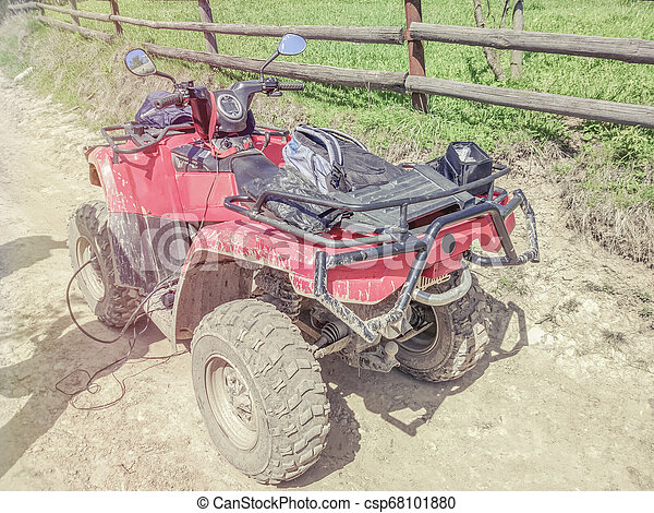 quad bike off-road in the forest, close up, side and rear view - csp68101880