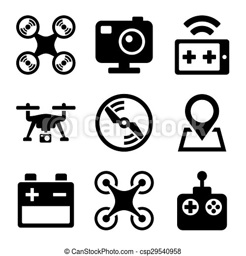 Quadcopter And Drone Icons Set On White Background Vector