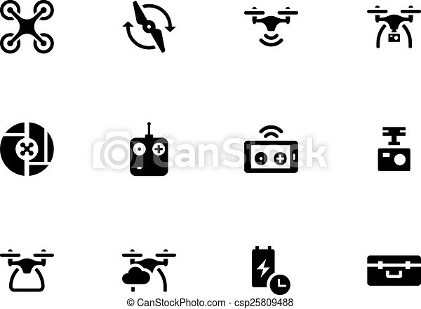 Quadcopter And Flying Drone Icons On White Background Vector