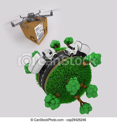 quadcopter, pacchetto, camion, sopra, volare, fuco, globo, erboso - csp29426246