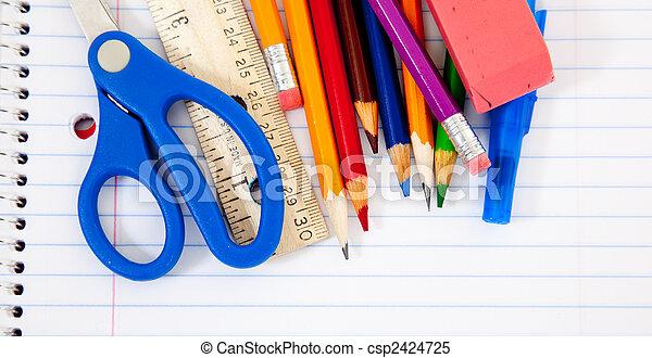 quaderni, provviste, assortito, scuola - csp2424725