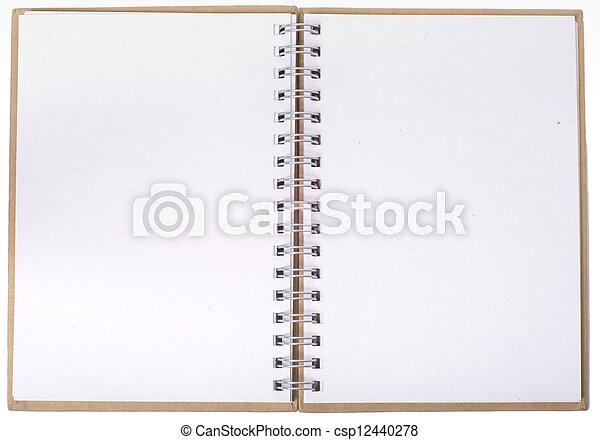 quaderno, aperto, pagine, vuoto - csp12440278